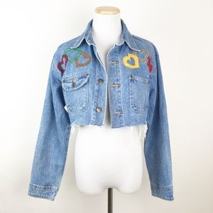 VTG 90s Cropped Denim Jacket Raw Hem Hearts Y2K